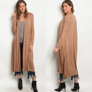 Tan Mocha Long Sweater Duster Cardigan